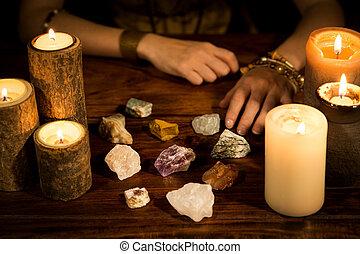 bougies, mains, pierres, guérison, caissier, entraînement, vie, concept, fortune