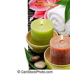 bougies, monture, lis, spa