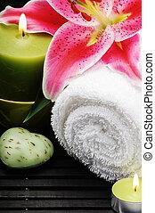 bougies, monture, serviette, spa
