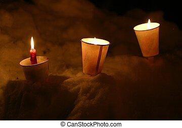 bougies, neige