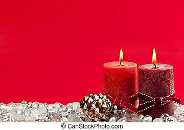 bougies, noël, fond, rouges