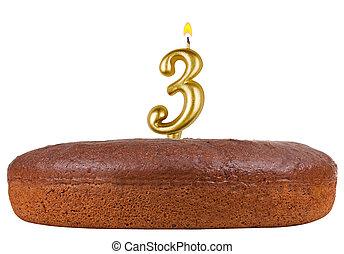 bougies, nombre, isolé, 3, gâteau anniversaire