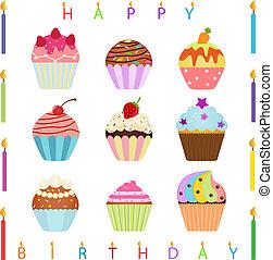 bougies, petit gâteau, anniversaire, heureux