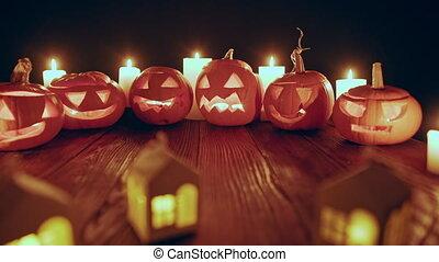 bougies, potirons, halloween, jack-o-latern