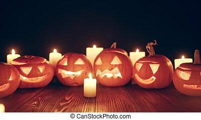 bougies, potirons, vidéo, dehors, halloween, zoom, jack-o-latern