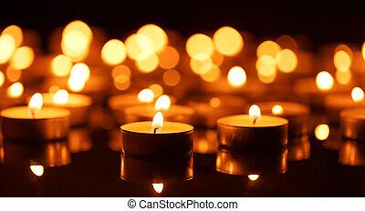 bougies, profondeur, peu profond, brûlé, champ