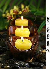 bougies, rochers, aromathérapie