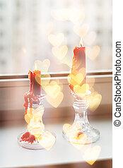 bougies, rue., rouges, rebord fenêtre, valentine