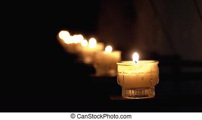 bougies, salzburg., austria., brûlé, commémoratif,...