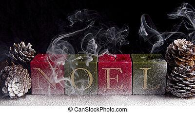 bougies, soufflé, noel, dehors