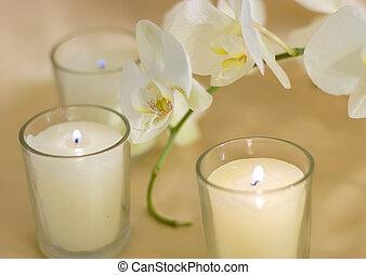 bougies, sur, arôme, fond, soie, orchidées