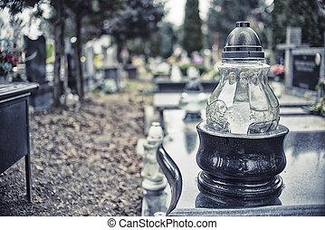 bougies, sur, pierre tombale, dans, tout, saints, jour, hdr, effet