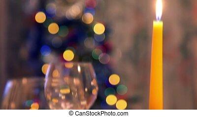 bougies, table haute, décoré, noël, lunettes