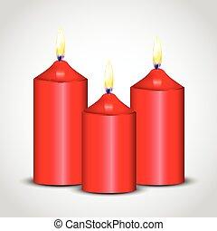 bougies, vecteur, illustration, rouges