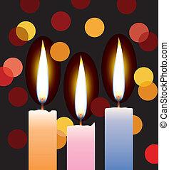 bougies, vecteur, lumières