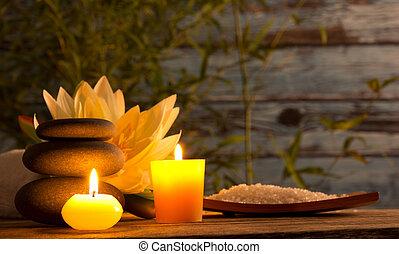 bougies, vie, encore, aromatique, spa