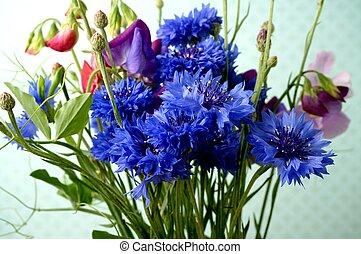 bouguet with cornflower and sweetpea. Summer garden flowers