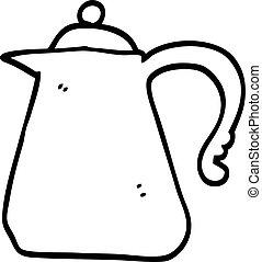 bouilloire blanche, noir, dessin animé