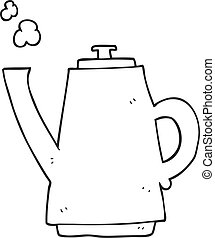 bouilloire café, noir, blanc, dessin animé
