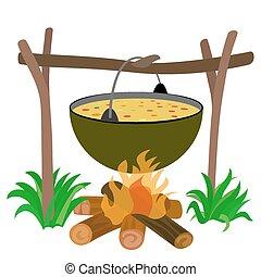 bouilloire, de, soupe, dans, feu camp