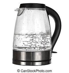 bouilloire thé, isolé, eau, ébullition, blanc