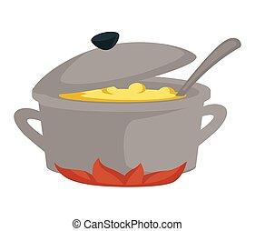 bouillon, het koken, soep, kachels, bouillon, pan, schaaltje...
