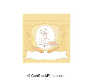 boulanger, caractère, présentation, fraîchement, cuit, dessin animé, pain