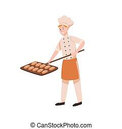 boulanger, character., boulangerie, couleur, vecteur,...