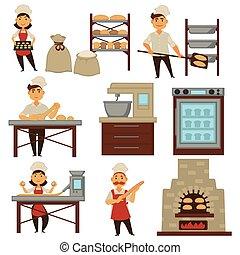 boulanger, dans, boulangerie, magasin, cuisson, pain,...