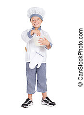 boulanger, petite fille, uniforme