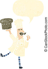 boulanger, retro, dessin animé, pain
