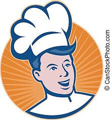 boulanger, tête, cuisinier, chef cuistot