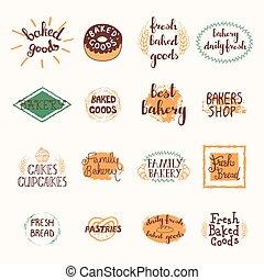 boulangerie, étiquettes, ensemble
