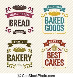 boulangerie, étiquettes, retro