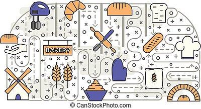 boulangerie, bakehouse, bakeshop, ou, confiserie, créatif,...