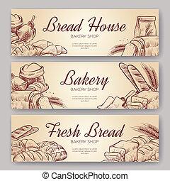 boulangerie, banners., main, dessiné, cuisine, pain,...