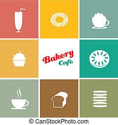 boulangerie, café, conceptions, fond