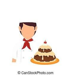 boulangerie, chef cuistot, à, gâteau