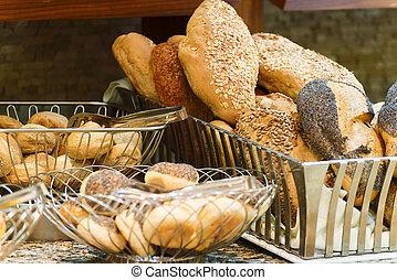 boulangerie, différent, variétés, pain