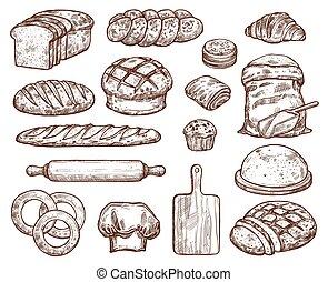 boulangerie, ensemble, à, beaucoup, de, types, frais, bread.