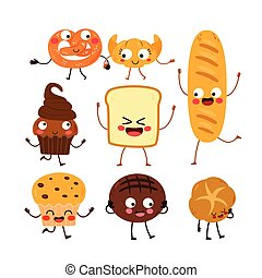 boulangerie, ensemble, caractères, collection, pain