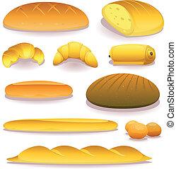 boulangerie, ensemble, pain, icônes