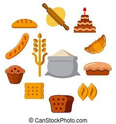boulangerie, icône, concept