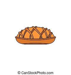 boulangerie, produit, dessin animé, icône