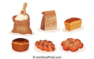 boulangerie, produits, patisserie, vecteur, pain, farine,...