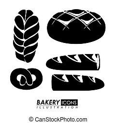 boulangerie, vecteur, conception, illustration.