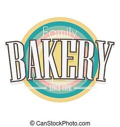 boulangerie, vecteur, label., design.