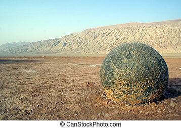 Boulder - Big boulder in desert, West China