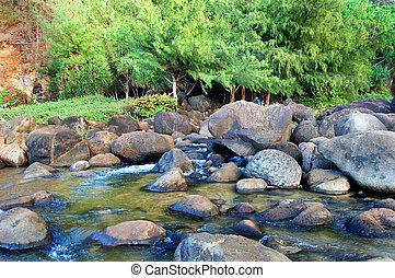 Boulder Strewn Stream on Kauai Hawaii - Man in blue shirt,...