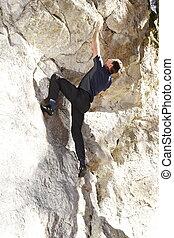 bouldering man